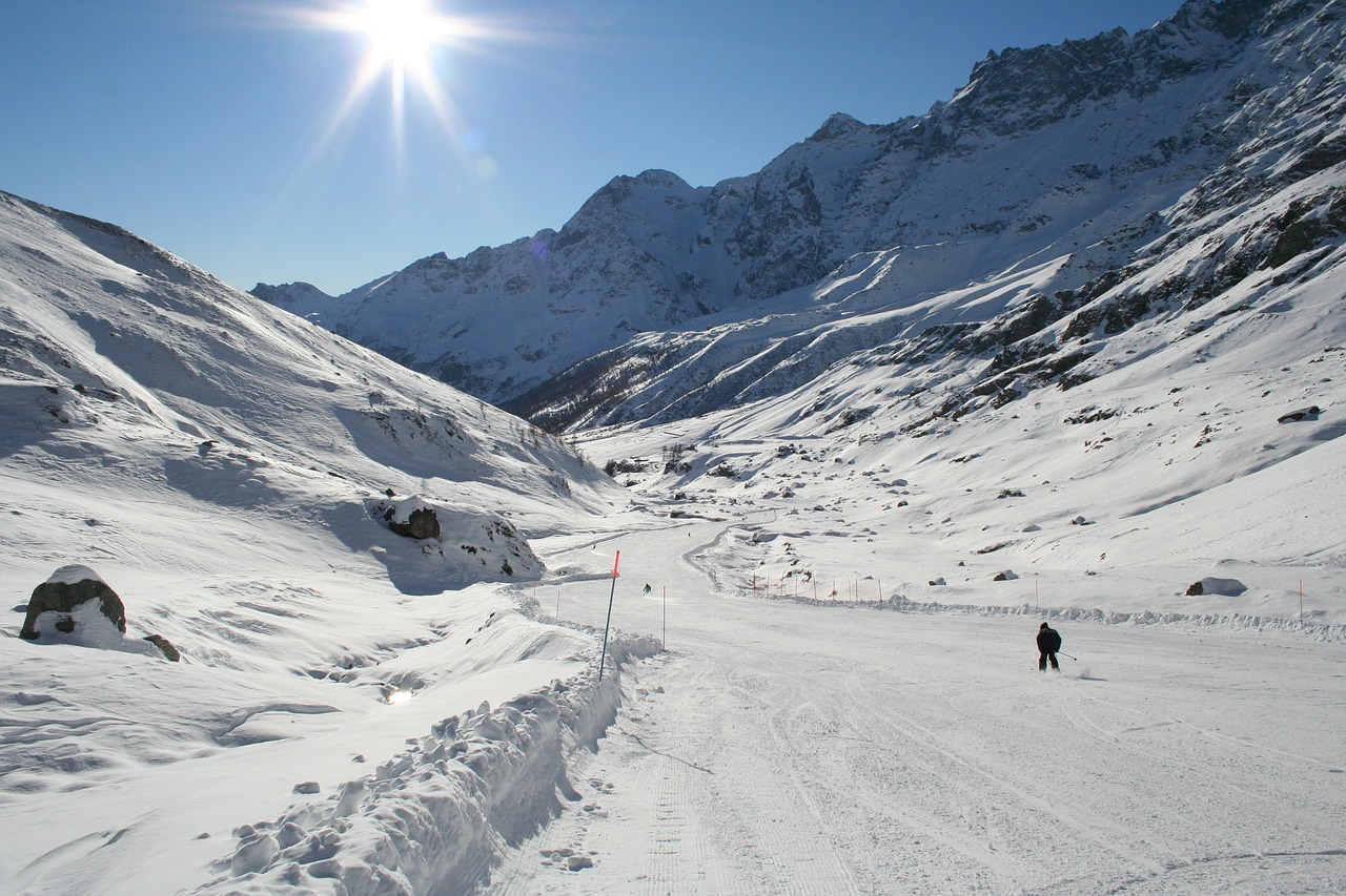 Mountain Skiing - Panoramic View At The Ski Slopes And